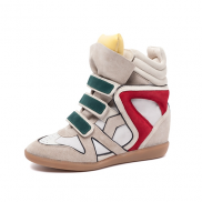 Willow Wedge Sneakers Yellow Tongue Green Velcro